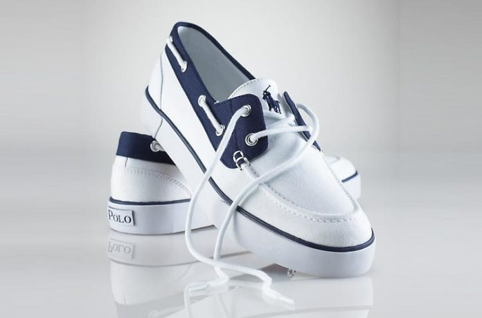 Ralph Lauren Lander Canvas Deck Shoe White-Navy