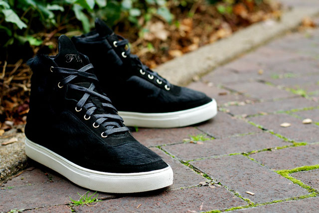 Filling Pieces High Top's Ponyskin Black suede