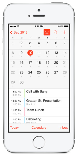 Apple Mise a jour iOS 7.1 Calendrier au mois