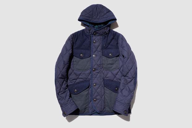Manteau de chasse Junya Watanabe MAN Quilted Patchwork Jacket - Bleu Marine