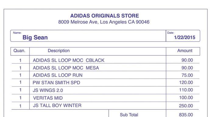 Facture Sneaker Shopping Big Sean Adidas - Complex