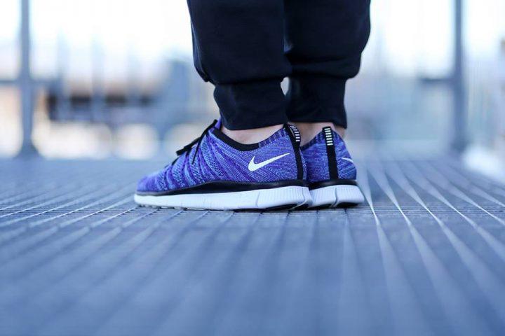 Nike Free Flyknit NSW 'Court Purple' (White-PolarizedBlue-Black)-2