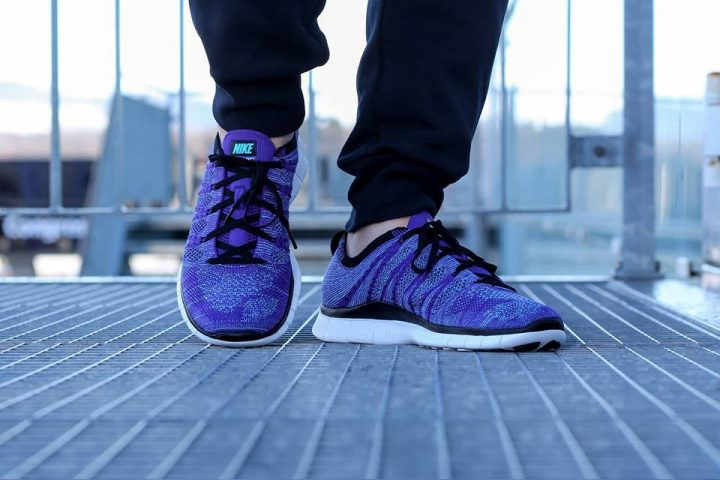 Nike Free Flyknit NSW 'Court Purple' (White-PolarizedBlue-Black)-3