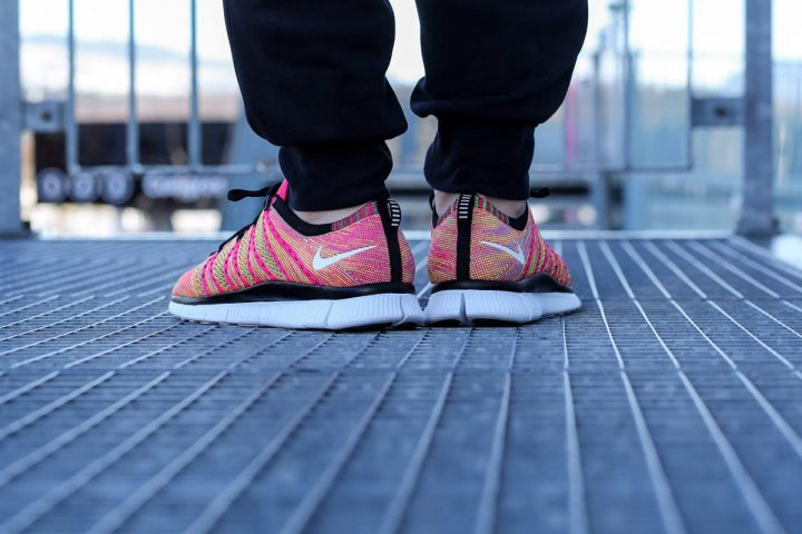 Nike Free Flyknit NSW (Pink Flash/White Volt)-1