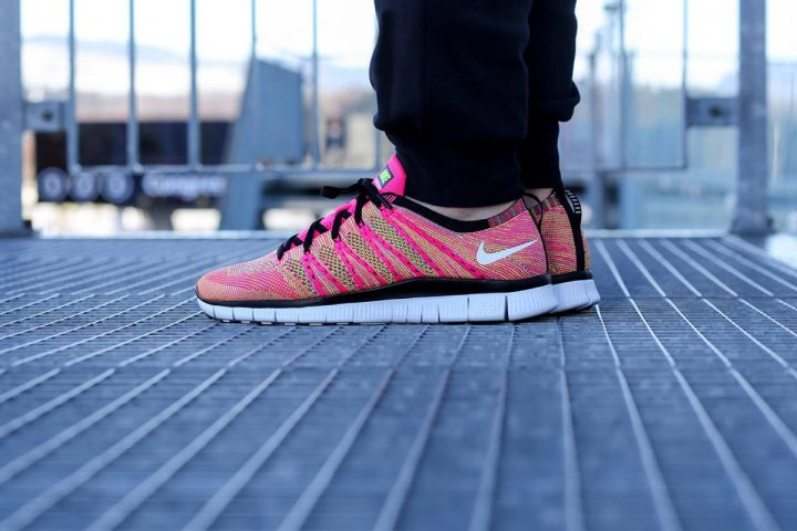 Nike Free Flyknit NSW (Pink Flash/White Volt)-3