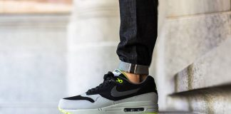 Nike Air Max 1 Leather Black Dark Grey Silver Volt