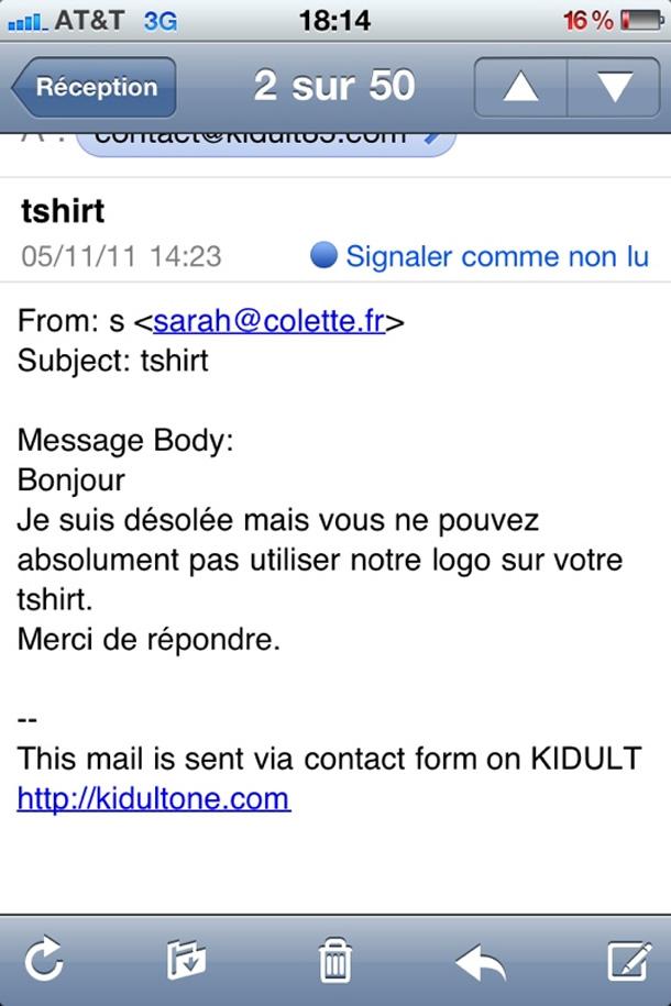 message/mail de colette pour Kidult
