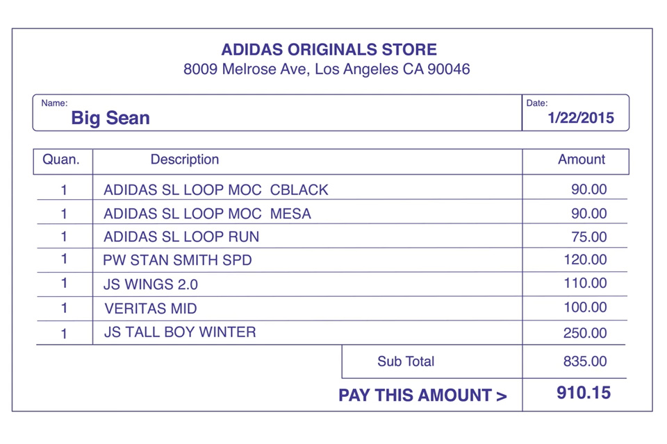 Facture Sneaker Shopping Big Sean Adidas - Complex