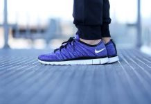 Nike Free Flyknit NSW Court Purple White Polarized Blue/Black